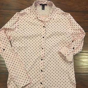 Forever 21 button front light pink shirt Med